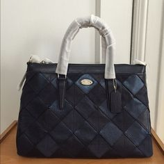 """NWT Coach Morgan Satchel Patchwork Leather F36698 NWT Coach Morgan Satchel Patchwork Leather Silver Blue Multi Color F36698 Retail price $595+tax  - Pebble leather - Inside zip, cell phone and multifunction pockets - Zip-top closure, fabric lining - Handles with 5 1/2"""" drop - Long strap with 17 3/4"""" drop for shoulder or crossbody wear - 14 3/4"""" (L) x 10"""" (H) x 5 1/2"""" (W) - Color Silver blue multi color   Feel free to ask any questions before purchasing! Thank you so much :) Coach Bags…"""