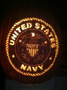 US Navy pumpkin carved by Marshiekins Pumpkin Carving, pattern by Stoneykins.com