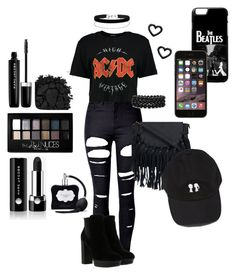 """""""Black AC/DC YES"""" by purplesparkleza ❤ liked on Polyvore featuring WithChic, Boohoo, Hogan, Bling Jewelry, Miss Selfridge, Marc by Marc Jacobs, Marc Jacobs, Urban Decay, Maybelline and Victoria's Secret"""