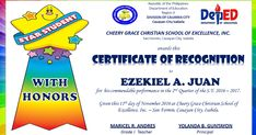 deped certificate of recognition for honor students Sample Certificate Of Recognition, Certificate Of Achievement Template, Certificate Design Template, Award Certificates, Recognition Ideas, Perfect Attendance Certificate, School Certificate, Award Template, Student Awards