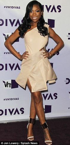Brandy Norwood looked pretty in a one-shouldered flared dress