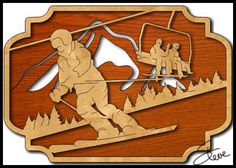 This snow skier scene pattern comes in two different sizes. The last two pages are the small pattern. Rip Cut, Scroll Saw Patterns, Woodworking Projects, Clock, Skiers, Snow, Wood Carvings, Dremel, Wood Work
