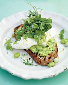 Jamie Oliver's incredible smashed peas and broad beans on toast - a fave I make every spring (without the mozzarella but make sure you follow every other detail!!) This recipe is seriously out of this world, yummy!!! Use Meyer Lemon if you have it!