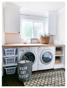 Modern Farmhouse Entryway, laundry room, laundry room storage, farmhouse laundry room, laundry room with folding table Laundry Decor, Laundry Room Signs, Small Laundry Rooms, Ikea Laundry, Basement Laundry, Bathroom Laundry, Laundry Closet, Bathroom Storage, Small Bathroom