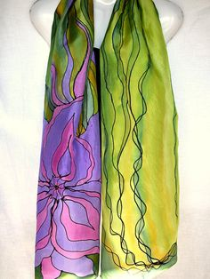 Floral Silk Scarf Hand Painted Silk Scarf Purple Green