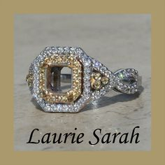 Double Halo of Yellow Sapphires and Diamonds by LaurieSarahDesigns, $2623.35