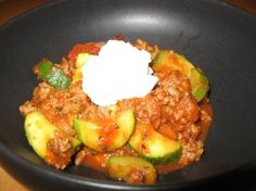 Zucchini and Ground Beef Skillet- Good and very easy. Tastes like spaghetti without the noodles and with vegetables.