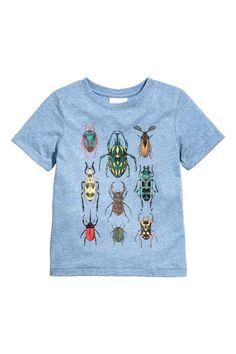 T-shirt met print - Blauw gemêleerd - KINDEREN | H&M NL