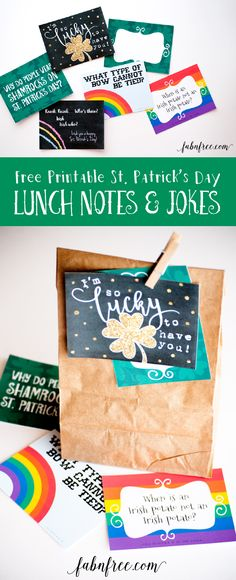 Free Printable St. Patricks Day Notes and Jokes! Put these in your child's lunch sack as a fun way to show them that you are thinking of them. They are super cute and sized at 3x4, so they can ALSO be used for Project Life.