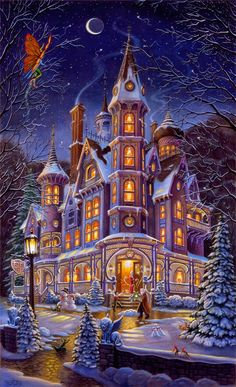 Painted by Randal Spangler, the Home Is Where The Magic Is wall mural from Murals Your Way will add a distinctive touch to any room. Christmas Scenes, Christmas Art, Vintage Christmas, Christmas Stockings, Murals Your Way, Photo Souvenir, Randal, Earth Design, Thomas Kinkade