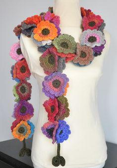 Floral Fall Long Multicolor Crochet Flowers long por jennysunny