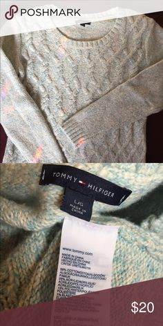 """Tommy Hilfiger. So soft! 26"""" length. 19"""" pit to pit and at hem. Cable front, smooth back. Worn twice. Light blue/cream sweater. Kind of has aqua/real tone. So soft! Tommy Hilfiger Sweaters Crew & Scoop Necks"""