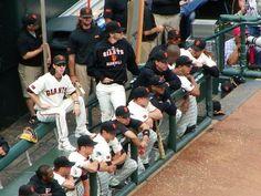 In the dugout San Francisco Giants, Mlb, Haha, Basketball Court, San Fransisco, Baseball, Sports, Hs Sports, Sport