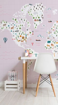 Our Pink Graph Paper Kids Map Wall Mural is a fun and charming mural for a little girl's bedroom or nursery and is educational at the same time. This cute pink map wallpaper is full of famous monuments, animals that live in different countries and cultural images that mark many places around the world. #wallpaper #mural #wallmural #interiordesign #design #home #homedecor #interiordecor #accentwall #inspiration #Ihavethisthingswithwalls #kids #kidsbedroom #kidsbedroomideas