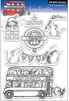 From the Penny Black London 2012 Collection of rubber stamps and clear stamps, this set of clear stamps includes a double Penny Black Karten, Penny Black Cards, Z Cards, Black Characters, Ink Stamps, Black Love, Colouring Pages, Digital Stamps, Stickers