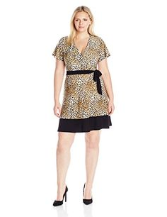 Plus Size Sleeve Surplice Bodice Short Dress with Contrast Black Tie Belt and Hem - Cute Dresses Cute Dresses, Short Dresses, Bride Dresses, Plus Size Retro Dresses, Bicycle Clothing, Women's Plus Size Shorts, Mother Of The Bride Gown, Stylish Plus, Womens Cocktail Dresses