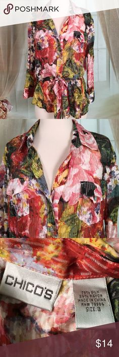 """Chico's Multi Colored Sheer Long Sleeved Blouse Beautiful three-quarter length sleeve sheer blouse. Ties at the waist. 70% silk and 24% rayon. Great condition. Size 3 (Large).  Bust 38 and length 26"""".  All measurements are approximate. Offers are always welcome.  TB204 LOC-6 Chico's Tops Blouses"""