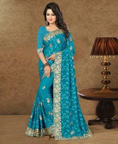 Blue Georgette Embroidery Work Saree 79402