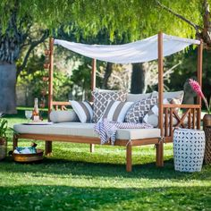 Be one with nature with this Outdoor Daybed and Ottoman. For more Patio / Garden Furniture Ideas, click on the Visit Button above.  #patio #garden #patiofurniture #patiofurnitureset #gardenfurniture #outdoorfurniture #home #furniture