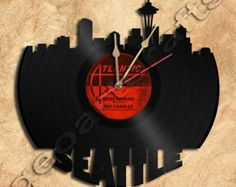 Wall Clock Seattle Vinyl Record Clock Upcycled Gift Idea