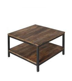 LEF collections Industrial brown metal black wood coffee table 60x60x46cm - Wonen met LEF!