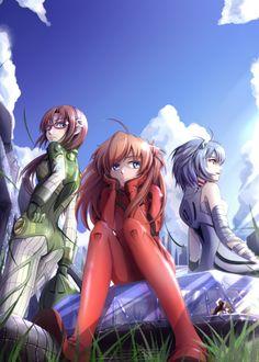 Shinseiki Evangelion - Mari, Asuka and Rei
