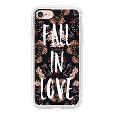 Modern fall in love typography autumn floral pattern by Girly Trend -... found on Polyvore featuring accessories, tech accessories, iphone case, iphone cover case, floral iphone case, iphone cases and apple iphone cases
