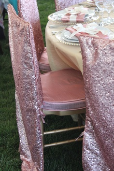 Sparkly chiavari chair cover and cushion. Pink. Gold. So Eventful {Wedding & Event Coordination}