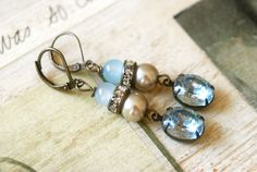 Addie. light sapphire vintage rhinestone drop earrings.Tiedupmemories