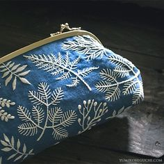 Embroidered pouch by Yumiko Higuchi - Blue with ferns and leaves