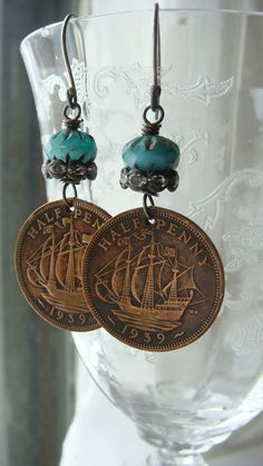 1939 United Kingdom Half Penny Ship Coin Earrings by CobwebPalace Wire Wrapped Earrings, Beaded Earrings, Beaded Jewelry, Handmade Jewelry, Unique Jewelry, Coin Jewelry, Jewelry Crafts, Jewelery, Jewelry Necklaces