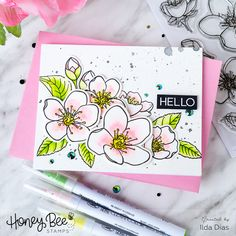 Welcome to Day 2 of the Honey Bee Stamps Spring Release. Lots of cards to share with you featuring many new products. Plus watch how I create another interactive card! Flower Stamp, Flower Cards, Set Honey, Honey Bee Stamps, Bee Cards, Interactive Cards, Wink Of Stella, Shaped Cards, Spring Blossom