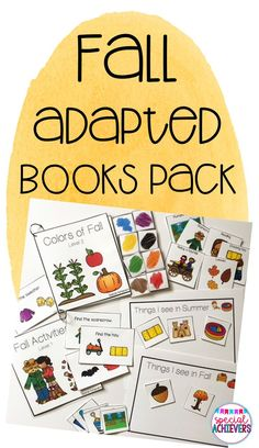 These fall adapted/interactive books and related activities are perfect for preschool and kindergarten aged readers, special education students, and students needing extra assistance when reading. This product is a great addition to language arts/literacy Vocabulary Activities, Autumn Activities, Kindergarten Activities, Toddler Activities, Kindergarten Age, Numbers Kindergarten, Special Education Classroom, Kids Education, Science Lessons