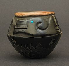 Finely incised and carved blackware bowl with eagle and water serpent design by Kevin Naranjo (Santa Clara)