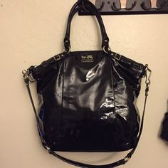 Beautiful Black Coach Purse Used with no ware black Coach bag. No rips or stains and no scuffs on the material. Please ask me any questions you may have. And remember all reasonable offers will be considered  Coach Bags