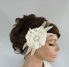 Ivory Bridal Head Piece Weddings Flower Headband by MammaMiaBridal