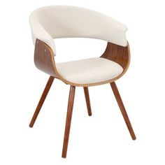 LumiSource Vintage Mod Chair Walnut + Cream found on Polyvore featuring home, furniture, chairs, walnut wood furniture, bone furniture, ivory chair, beige furniture and egg shell chair
