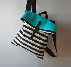 Fashionable backpack Messenger bag Striped canvas bag Turquoise bag Handmade trendy women bag Designer bag Summer rucksack Gift for her
