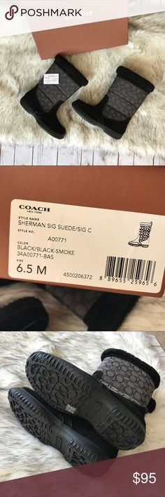 ❄️Coach winter boots❄️ 💗Beautiful Coach winter boots in black and gray print new with tags never worn size 6.5 💗 Coach Shoes Winter & Rain Boots