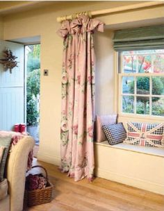 Love the Flag pillow w/ gingham check.Curtain, Roman blind and cushions fabrics, Laura Ashley. Country home sitting room Cottage Living, Cottage Style, Home And Living, Living Room, Cottage Curtains, Style Anglais, Country Decor, Country Homes, Country Cottages
