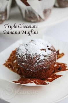 Gluten-Free Triple Chocolate Banana Muffin @Jeanette | Jeanette's Healthy Living