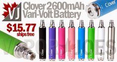 Clover 2600mAh Vari-Volt Batteries in 8 Colors