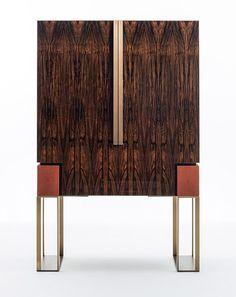Ebony bar cabinet with integrated lighting MONTENAPOLEONE   Ebony bar cabinet by OAK Cafe Interior, Interior Styling, Asian Inspired Decor, Bar Unit, Mobile Bar, Drinks Cabinet, Cabinet Furniture, Decoration, Lighting Design