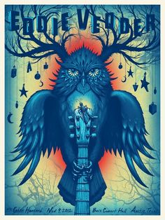 Eddie Vedder tour posters designed by Jeff Soto Tour Posters, Band Posters, Music Posters, Retro Posters, Vintage Posters, Music Artwork, Art Music, Festival Posters, Concert Posters