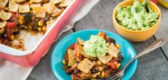 Enchilada Casserole~  ***Use reduced fat corn tortillas (like Mission white corn tortillas) & top with your favorites! Fresh cilantro, fat free salsa, fat free sour cream/plain nonfat yogurt, grated fat free free cheese (avocados are not a power food).  Filling and flavorful, this casserole is easier to make than enchiladas, since you don't need to roll the tortillas or make a separate sauce. Click on the photo to read more Vegan Enchilada Casserole, Vegan Enchiladas, Casserole Recipes, Enchilada Pie, Mexican Food Recipes, Whole Food Recipes, Ethnic Recipes, Plant Based Recipes, Leche