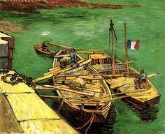 Barges on the Rhone River, 1888 by Vincent Van Gogh #chepakko #van #gogh #art #painters #canvas  #paintings