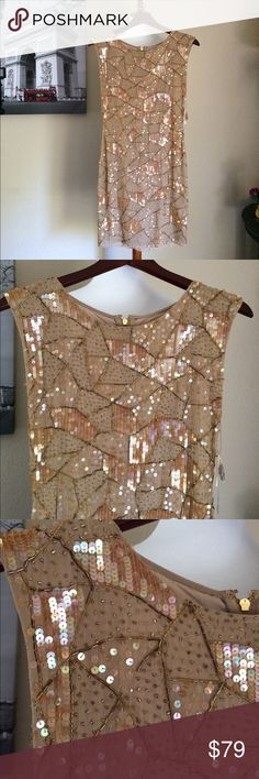 """Alice & Olivia Dress Some missing sequin, attached is the bag of sequins. Beautiful Gold Tan Alice & Olivia dress. Sz 2. Length 32"""". Bust pit to pit 14.5"""". See pics for flaws. Alice & Olivia Dresses"""