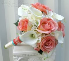 Wedding bouquet coral cream real touch by BrideinBloomWeddings, $120.00 the ribbon around the bottom