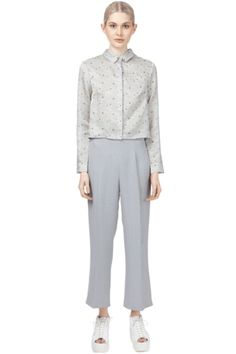 Cropped silk shirt with flared back