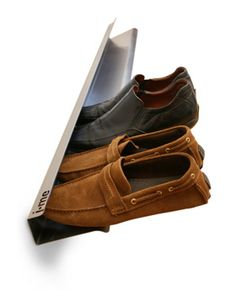 """Shoe Rack by Jaime & Mark: Stainless steel. Large: 47.25""""x 6"""" ($149). Small: 27.5 x 6"""" ($99)."""